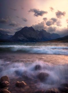 Angry Mary by Dave McEllistrum.... A windy day at St Mary Lake in Glacier National Park.. #landscape #lake #sunset #water #waves #mountain #glacier