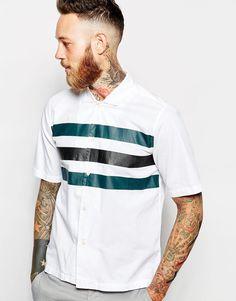 Image 1 - Wood Wood - Chemise à manches courtes avec rayures sur le devant