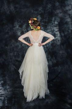 Ivory lace bohemian wedding dress boho wedding by ElaSiromascenko