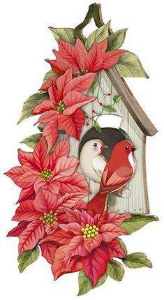 Vintage Christmas Decorations Printable Ideas For 2019 Christmas Bird, Christmas Poinsettia, Christmas Drawing, Christmas Scenes, Christmas Clipart, Christmas Paintings, Christmas Printables, Christmas Crafts, Christmas Decorations