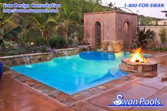 Swimming pool design meant for a quick dip, warmth around the fire, and intimacy in the spa.