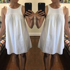 Victoria's Secret White Eyelet Dress Beautiful allover eyelets add a feminine texture. Nothing says summer like an eyelet dress. 100% cotton. Comfortable loose fit. Worn once, no damage. Victoria's Secret Dresses