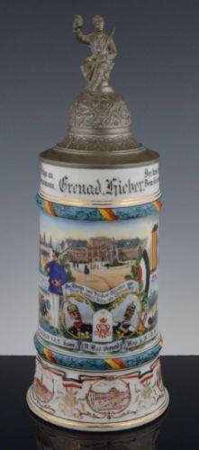 Antique 1911-1913 German Military Infantry Regiment Nr 110 Mannheim Lithophane Porcelain BEER STEIN #beerstein #antiques