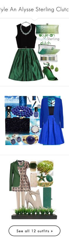 """""""Style An Alysse Sterling Clutch!"""" by egordon2 ❤ liked on Polyvore featuring Max Studio, Zara, Clinique, Deborah Lippmann, Nine West, Milly, Blue, bluejewelry, bluesapphire and TheGryphonsNest"""