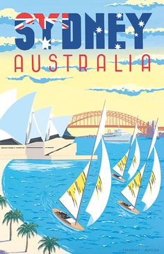 PEL317: 'Sydney Harbour - Australia' by Charles Avalon - Vintage travel posters - Art Deco - Pullman Editions