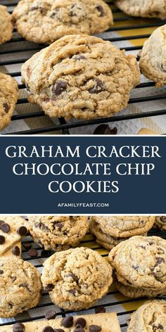 These delicious Graham Cracker Chocolate Chip Cookies just might become your go-to chocolate chip cookie recipe from now on. These delicious Graham Cracker Chocolate Chip Cookies just might become your go-to chocolate chip cookie recipe from now on. Graham Cracker Cookies, Graham Cracker Recipes, Chocolate Graham Crackers, Recipes With Graham Crackers, Graham Cracker Dessert, Graham Cracker Crumbs, Köstliche Desserts, Delicious Desserts, Dessert Recipes