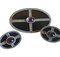 Judith Jack Art Deco Revival Brooch & Earrings Set by Curiopolis