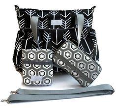 Diaper Bag Gift Set - Black Arrow Diaper Bag - Travel Pad - Wipes Case - Messenger Strap