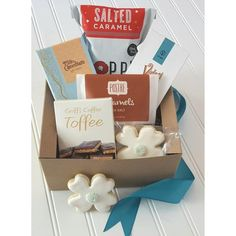 Gift Baskets by Melissa   Hendersonville, NC Sea Salt Caramel, Corporate Gifts, Toffee, Gift Baskets, Sweets, Chocolate, Box, Gift Ideas, Wedding