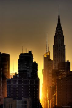 Chrysler Building at sunset. Love the composition and colors!