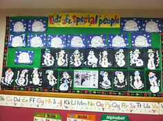 Winter or snow themed pre-k bulletin board...build a snowman and igloos