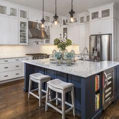 Navy Kitchen Island - Lauren Nicole Designs