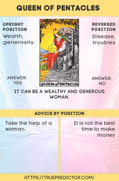Queen of Pentacles tarot card meanings — True prediction Tarot Cards For Beginners, Tarot Card Spreads, Tarot Astrology, Oracle Tarot, Tarot Card Meanings, Cartomancy, Palmistry, Pentacle, Card Reading