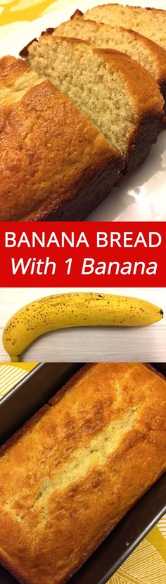 One Banana Banana Bread :) YUM YUM YUM! Using just 1 overripe banana, this banana bread is so delicious! | MelanieCooks.com