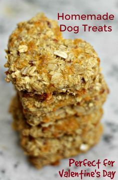 Homemade Dog Treats Recipe Perfect for Valentine's Day - - Follow this easy recipe to make heart-shaped Valentine dog treats your dog will LOVE! Also find some ideas for other Valentine's Day gifts for your dog.