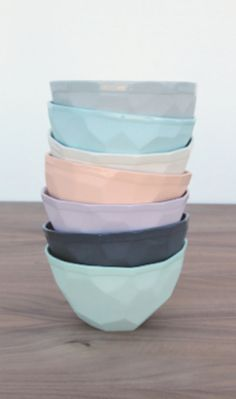 pretty faceted geo ice cream bowls