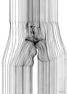 Sensual Line Art by Nester Formentera. This is an example of line because there are many types of lines within the art piece, such as straight lines, wavy lines, and over lapping lines. Op Art, Art Sketches, Art Drawings, Abstract Sketches, Unique Drawings, Abstract Line Art, Pencil Drawings, Stylo Art, Arte Peculiar