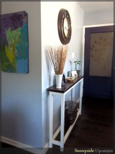 Narrow Entry Table super skinny console table - diy - i so need this next to my non