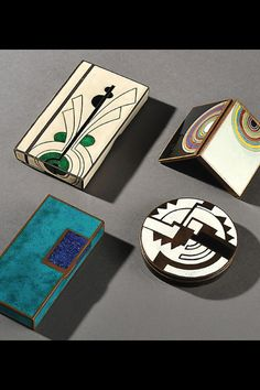 Besutiful little Art Deco boxes by Jean Goulden