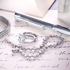 For a radiant union. Tiffany Jazz™ three-row bracelet, Tiffany Novo® band ring, Tiffany Grace® bracelet. All in platinum with diamonds. #TiffanyPinterest #TiffanyWeddings