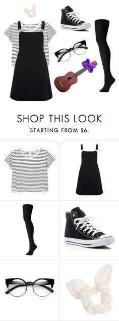 """Dodie Clark Inspired Look"" by mikyla-louise ❤ liked on Polyvore featuring Monki, New Look, Falke, Converse, ZeroUV and Dorothy Perkins"