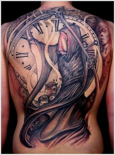 Death Grim Reaper N Clock Tattoo Design Ideas On Back Body - http://tattooideastrend.com/death-grim-reaper-n-clock-tattoo-design-ideas-on-back-body/ -