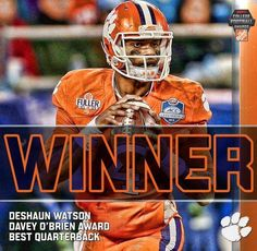 Deshaun Watson, Clemson Football, wins the Davey O'Brien Award. Clemson Football, Clemson Tigers, Football Helmets, Deshaun Watson, College Quarterbacks, Best Quarterback, Tiger Love, East Lansing