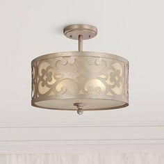 A graceful pattern decorates this stylish semi-flushmount ceiling light from Minka-Lavery. wide x high. Style # at Lamps Plus. Ceiling Light Fixtures, Ceiling Lights, Champagne, Transitional Lighting, Semi Flush Lighting, Minka, Light Decorations, Bulb, Traditional