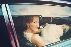 In the car on her wedding day