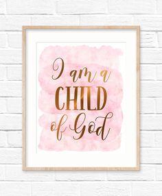 I am a Child of God, Galatians 3:26, Bible Verse Printable by LilaPrints. Nursery Decor, Scripture Prints, Christian Gifts, Kids Room, Nursery Bible Quote #Bibleverse #kitchenwalldecorideas #homedecor #nurserydecor