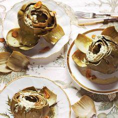Steamed Globe Artichokes with Pecorino Vinaigrette and Fried Garlic Chips