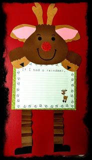 #Christmas themed writing project with a reindeer frame craft.