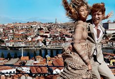 Photography by Mario Testino for American Vogue in Oporto (Portugal) with Gigi Hadid and Domhnall Gleeson