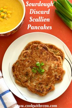 Sourdough Discard Scallion Pancakes are easy vegan pancakes made using Sourdough Discard Starter perfect for breakfast or mid-evening snacks. Crisp on the edges, soft on the inside. Perfect for breakfast, or your mid-evening snack. They go well with some hot soup or along with some hot and spicy curries #Pancakes #Scallion #SourdoughDiscard #SourdoughStarterDiscard #SourdoughDiscardRecipes #VeganPancakes #Vegan #Delicious #healthy #ryeflour #ryepancakes #ryesourdoughstarterpancakes… Deep Fried Recipes, Vegan Recipes Easy, Meat Recipes, Vegetarian Recipes, Vegan Food, Healthy Food, Healthy Eating, Sweet Corn Soup, Scallion Pancakes