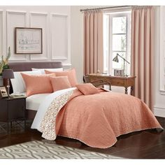 Chic Home 5-Piece Pamelia Quilted Flor De Lis Patterned Reversible Printed King Quilt Set Coral Shams and Decorative Pillows included, Orange