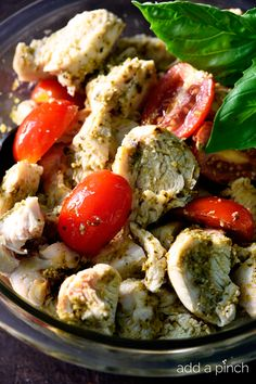Pesto Chicken Salad makes a quick and easy recipe for lunch or supper! // addapinch.com