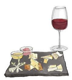 fromages et vin rouge 数種のチーズと赤ワイン
