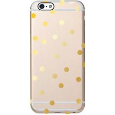Clear Gold Dot iPhone 6 Case ($20) ❤ liked on Polyvore featuring accessories, tech accessories, phone case and tech