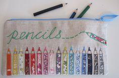 Liberty print colouring pencils applique by flossieteacakes, via Flickr