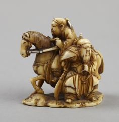 Netsuke: Two warriors. Japanese, Edo period, 1600–1868, Meiji period, 1868–1912. Princeton University Art Museum