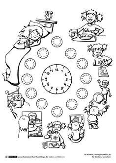 Download als PDF: Leben und Wohnen – Tagesablauf Uhrzeit – Rühmer Kindergarten Worksheets, Classroom Activities, Tracing Worksheets, Teaching French, Teaching English, Colegio Ideas, Creative Writing Ideas, Primary Teaching, Educational Games