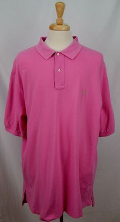 Ralph Lauren Polo Mens 2XLT XXLT Short Sleeve 100% Cotton solid pink shirt Used #RalphLaurenPolo #PoloRugby