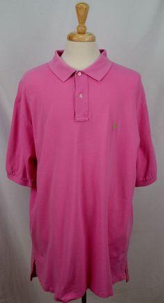 Ralph Lauren Polo Mens 2XLT XXLT Short Sleeve 100% Cotton solid pink shirt Used #RalphLaurenPolo #PoloRugby