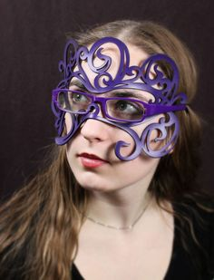 Swirly Art Nouveau leather mask in purple for glasses
