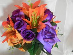 Silk Flower Centerpieces Weddings Showers by BountifulBouquets Silk Flower Centerpieces, Table Centerpieces, Wedding Centerpieces, Silk Wedding Bouquets, Orange And Purple, Shower Party, Silk Flowers, Showers, Floral Wreath