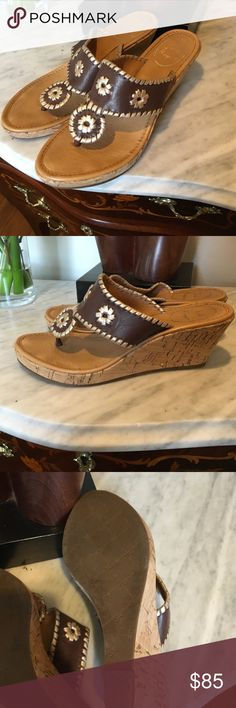 "Jack Rogers wedge sandals Jack Rogers wedge sandals. 3"" cork wedge. Brown and gold. Worn twice, excellent condition ! Size 7. Jack Rogers Shoes Sandals"