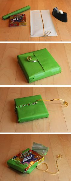 How to wrap gifts so that Babies can open them. Genius! diy gift wrapping brilliance.