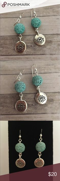 """Lotus Charm Essential Oil Diffuser Earrings  Beautiful Pewter Lotus Charm With Sea Green Lava Stone and Sterling Silver Earwires with Bead Detail✨ Includes rubber safety backs and Sample Essential Oil 1 3/4"""" Also available in Gold  DesignsByKaren Jewelry Earrings"""
