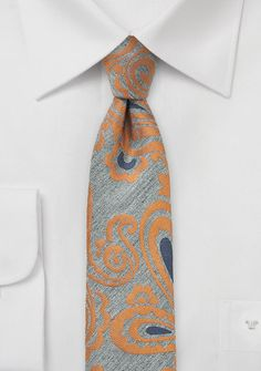 Oriental Paisley Tie in Gray and Orange. The best of both worlds: skinny & paisley! $15 on Cheap-Neckties