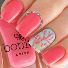 Nail Art, Painting With Polish ~ Salmon, Coral Color, Pale Blue Gray, Coral Painted On One Nail.